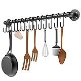 Housolution 85 cm Colgador de Utensilios de Cocina Barra Cocina Utensilios con 15 Ganchos, Organizadores para Utensilios de Cocina, adecuado para cocina, baño y dormitorio