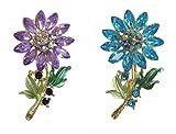 Générique Set de 2 briscas broches diseño Flor Cristal púrpura y Azul, Acero Dorado.