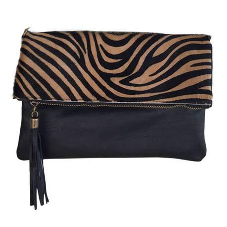 Damestas en schoudertas met tijgerprint van leer Made in Italy