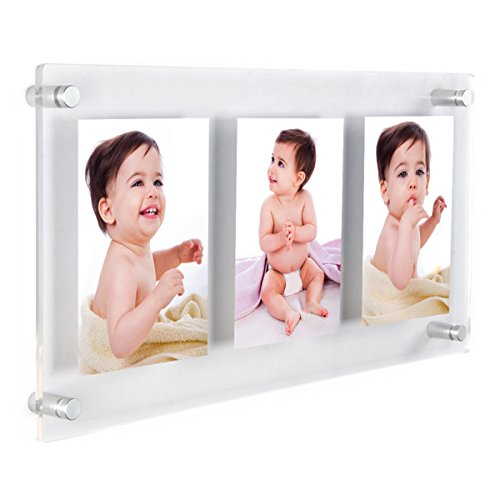 NIUBEE Clear Acrylic Wall Mount Floating Frameless Picture Frame Up to 13x28 Photo for Poster Photography Frames-Double Panel