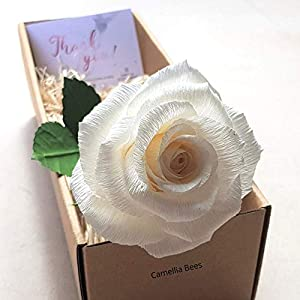 Silk Flower Arrangements 1st Year Wedding Gift Paper Rose Box, Unique Handmade Forever Roses Flower Gift for Valentines, Mothers Day, Wedding Anniversary (White)