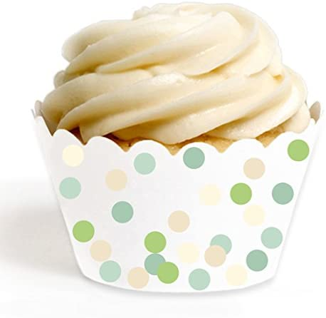 Andaz Press Birthday Party Cupcake Wrappers Decorations Ivory and Green Bohemian Party Collection product image