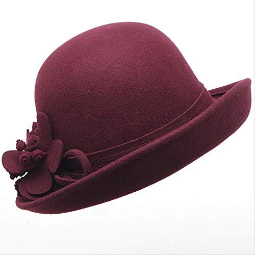 SGRMYS Herbst - und Wintermützen, Damen - Waschtischmütze, britische Lockenwolle, Kleiner Hut, Lockenstulpenhut, weiblich, rot