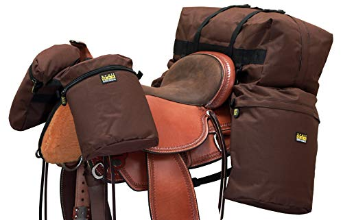 TrailMax Large Overnighter Horse Saddlebags Package with a Set of Saddle Bags, a Set of Horn Bags & a Cantle Bag, Double-Stitched, 600-denier PVC-Coated Poly, Brown