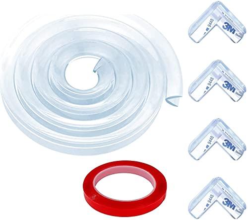 Protector de bordes para niños, 3 m, kit de seguridad, transparente, protector de bordes de mesa, con 1 rollo de cinta adhesiva de doble cara, 4 protectores de esquinas