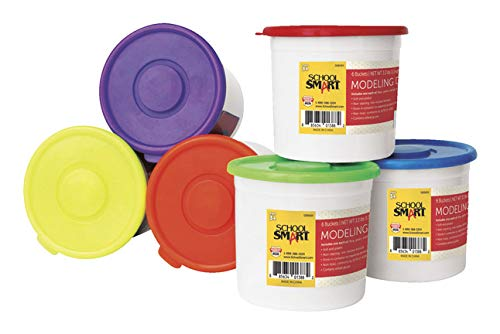 School Smart Modeling Dough, 3.3 Pound Bucket, Assorted Colors, Set of 6