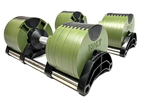 BOLT FITNESS SUPPLY + NÜOBELL Adjustable Dumbbell 5-80LB (Pair) Green with Tray. Multiple Levels of Weight Change with one-Hand, Green. Strength Training Exercise Equipment for Full Body Workout Fitness Home Gym.