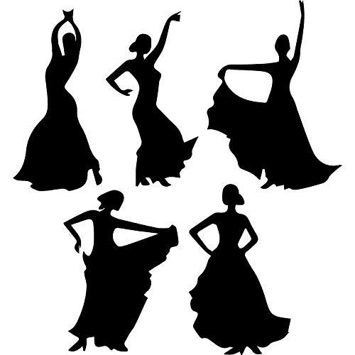 ASFGA Ballerina ethnische Schauspielerin Silhouette Wandtattoo Regenschirm Tänzer Vinyl Fenster Aufkleber Mädchen Schlafzimmer Ballett Schule Tanzraum Innen Wohnzimmer 57x61 cm