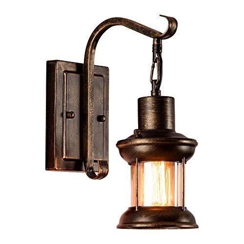 Vintage Glas Wandleuchte Rustikale Glas Wandlampe Retro Metall Schwarz Malerei Farbe Wandleuchte für Restaurant Home Bar Schlafzimmer Nachttisch Korridor Dekorieren (keine Glühbirne)