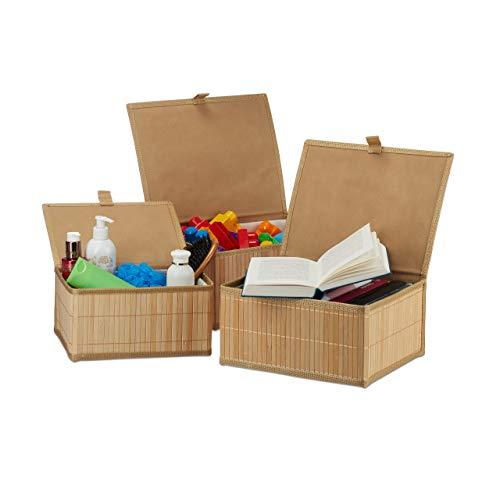 Relaxdays Set de Tres cestas de almacenaje, con Tapa, Funda Textil, Bambú, Decorativo, Marrón, estándar