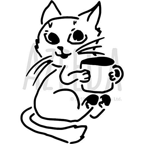 Azeeda A3 'Katze, die Kaffee hält' Wandschablone / Vorlage (WS00036182)
