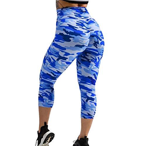 MAIMOMO Pantalones de yoga Gimnasio Polainas Deportivas Pantalones Deportivos Elásticos Yoga Gimnasio Fitness Leggings Running Medias de compresión Mujeres Pantalones de camuflaje - Azul _S