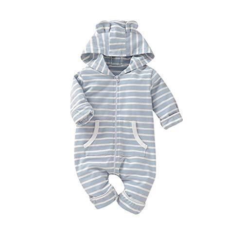 Jimmackey Neonato Unisex Manica Lunga Cappuccio Pagliaccetto Fumetto Cucciolo A Strisce Tutina Body Bambino Vestiti