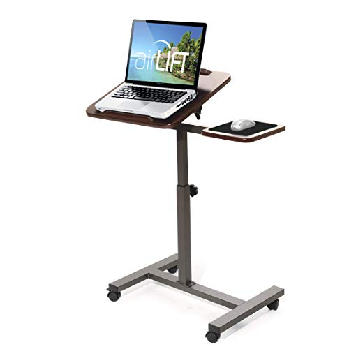 Seville Classics 27.8' Tilting Height Adjustable Mobile Laptop Computer Desk Cart with Mouse Side Ergonomic Table, 28', Walnut