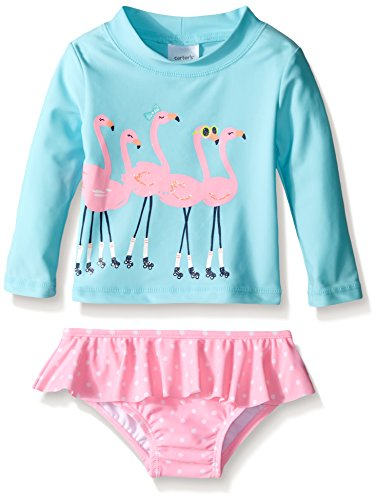 Carter's Baby Girls' Long Sleeve Flamingo Rash Guard Set, Blue, 18M