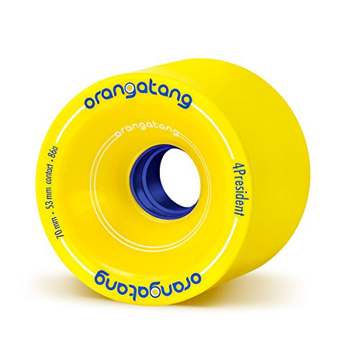 Orangatang 4 President 70 mm 86a Cruising Longboard Skateboard Wheels (Yellow, Set of 4)