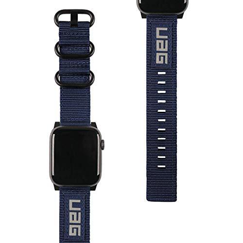 Urban Armor Gear NATO Eco Armband für Apple Watch 42mm / 44mm (Watch SE, Series 6 / Series 5 / Series 4 / Series 3 / Series 2 / Series 1, Nylon Ersatzarmband aus recycelten PET-Flaschen) blau