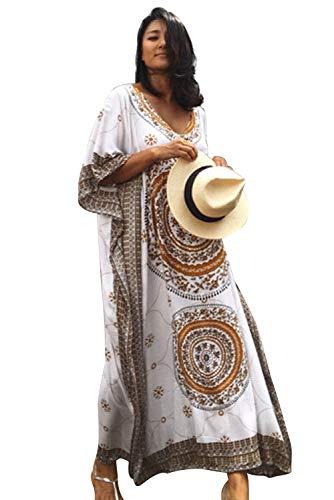 Vestito Lungo Fiori Donna Estivo Abito Etnico Tribale Boho Chic Tunica da Spiaggia Caftano Africano Kaftano Indiano Kimono Mare Vestiti Stampa Floreale Tropicale Copricostumi e Parei Bikini Cover Up