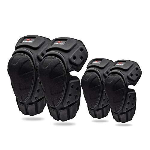 4pcs motocicleta ciclismo codo y rodilleras Rodillera ajustable transpirable Rodillera Protector protector Juego negro