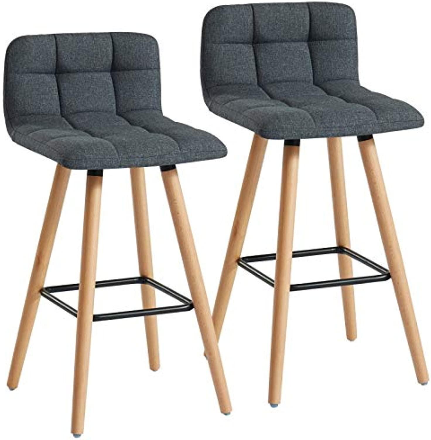 Misra Set of 2 Mid-Century Fabric & Solid Wood 26'' Counter Stool in Charcoal