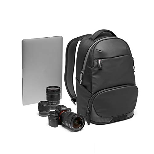 Manfrotto MB MA2-BP-A Advanced² Active Kamera/Laptop-Rucksack für DSLR/CSC Kameras mit Standardobjektiven, mit variablen gepolsterten Trennwänden, Stativbefestigung, beschichteter Stoff