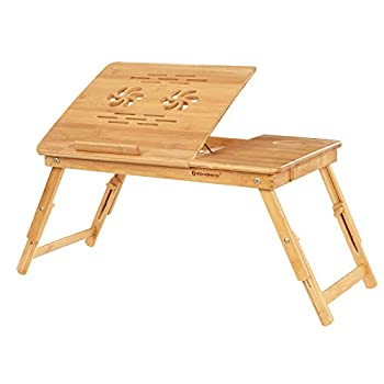 SONGMICS Bamboo Laptop Desk Serving Bed Tray Breakfast Table Tilting Top with Drawer