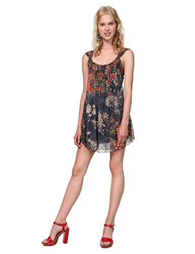 Desigual Damen Dress Straps Niels Woman Blue Kleid, Blau (Navy 5000), Large