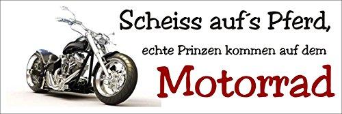 Creativ Deluxe Scheiss aufs Pferd echte Prinzen kommen auf dem Motorrad/Metallschild/Blechschild/Dekoschild/Wandschild/wetterfest/Innenbereich/Außenbereich/Motivation/Vintage