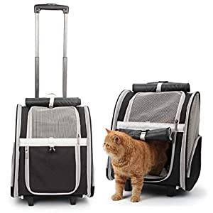 Lollimeow Pet Rolling Carrier, Dog Backpack with Wheels,Cats,Puppies Travel Bag with Wheels,Dog Trolley Airline Approved(Black)