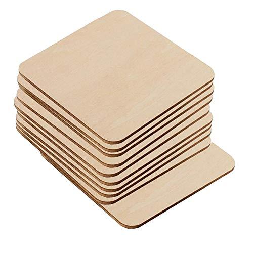 AGiao Lot de 10 cubes carrés en bois brut à bords droits pour décoration de la maison