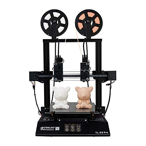 TENLOG TL-D3 Pro 3D Printer, Independent Dual Extruder 3D Printer with Upgrade Borosilicate Glass Bed,Silent Mainboards TMC2208 Drive Support PVA TPU ABS PLA,Direct Feed FDM 3D Printer 300x300x350mm