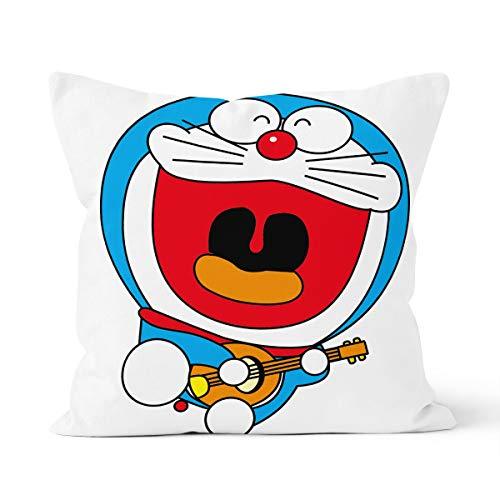 Doraemon - Funda de almohada con diseño de dibujos animados, cómoda y respetuosa con la piel, adecuada para la almohada del coche del dormitorio de la casa, tamaño 40 x 40 cm