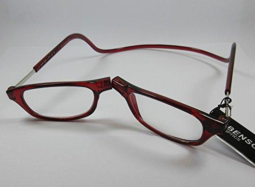 Benson leesbril +1,0 rood met magneetsluiting dames en heren kant-en-klare bril