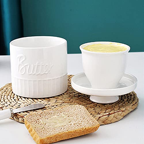 Yihaifu Butter Keeper Crock White Butter Container French Butter Dish Porcelain Mason Jar Style Butter Crock Enamel Butter Dish Butter Tray, 11.5 * 11.5 * 11cm