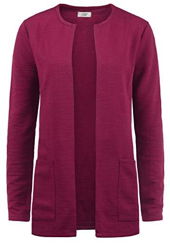 ONLY SWEA Damen Langer Cardigan Jacke Longjacke Mit Offenem V-Ausschnitt, Größe:L, Farbe:Red Plum