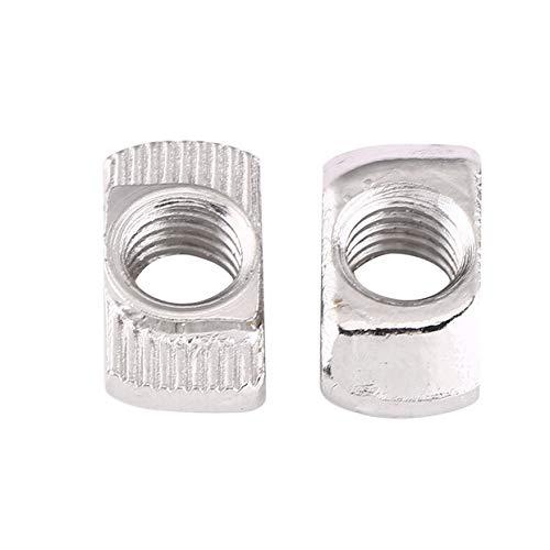 50 tuercas en T Winc chapados en acero al carbono, tornillos con cabeza de martillo para perfil de aluminio (EU30-M6*16.5*8)