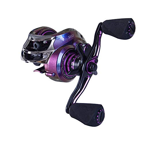 SOOLF Baitcasting Fishing Reel, 17.5LB Carbon Fiber Drag, 7.0:1 Gear Ratio, Magnetic Brake System, Right/Left Handed (Purple-Aluminium)