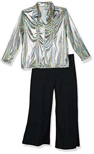 Smiffys-33841L Disfraz Retro de los 70, con Estampado psicodélico, Camisa y Pantalones de Campana, Color Negro, L-Tamaño 42
