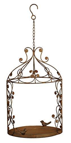 Dio dekoratives Vogelfutterhaus oder Blumenampel zum Hängen Metall braun antik