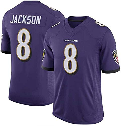 D&L Männer Rugby Jersey NFL T-Shirt Baltimore Ravens 8# Jackson King Short Sleeve bequem Breathable Sweatshirt, Sport Short Sleeve V-Ausschnitt T-Shirt (Color : Purple, Size : Kid-XL)