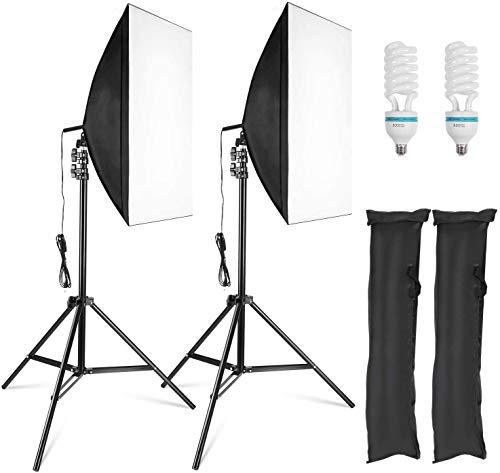 MVPower 60x60x60cm Fotostudio Set Fotozelt Lichtwürfel Ministudio mit 2 Stück 45W Studioleuchte und tragbarer Tasche