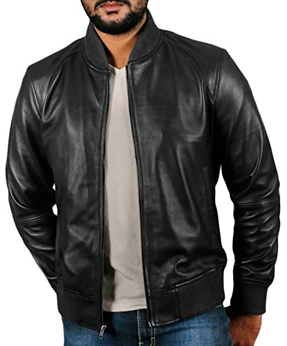 Laverapelle Men's Genuine Lambskin Leather Jacket (Black, Small, Polyester Lining) - 1501361