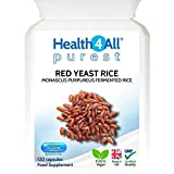 Red Yeast Rice 600mg 120 Capsules (V) Purest- no additives. Vegan. Highest Safe Dosage 2400mg a Day. Made by Health4All