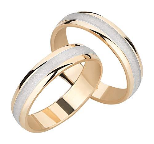 Ardeo Aurum Trauringe Damenring und Herrenring aus 375 Gold bicolor Gelbgold Weißgold hochglanzpoliert-matt Eheringe Paarpreis