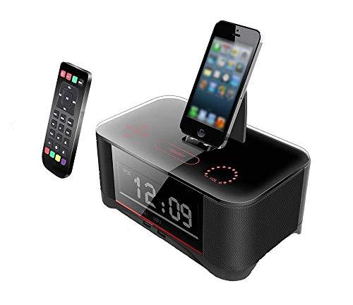 Mars Jun Dubbel alarm, FM-radio-wekker, met flitsschoen, USB-oplader, bluetooth, voor iPhone, iPad, en Android-telefoons Wit.