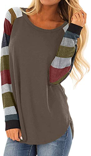 Women's Round Neck Causal Long Sleeve Tops Loose Soft Striped Tunic Blouse Tops Coffee