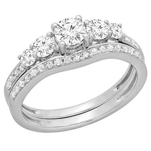 Dazzlingrock Collection 0.45 Carat (ctw) Round Diamond Ladies 5 Stone Bridal Engagement Ring Matching Band Set, 14K White Gold, Size 7.5 Diamond Ladies Bridal Set