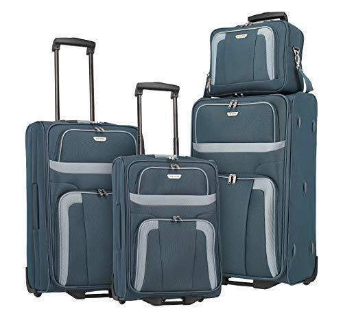 Travelite 2-Rad Koffer Set Größen L/M/S + Bordtasche, Handgepäck erfüllt IATA Bordgepäck Maß, Gepäck Serie ORLANDO: Klassischer Weichgepäck Trolley im zeitlosen Design, 098480-20, marine (blau)