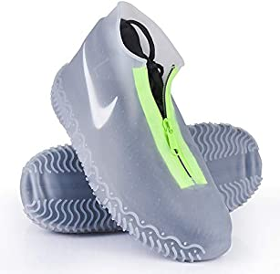 Cubierta del Zapato, Funda de Silicona para Zapatos con Suela Antideslizante y Diseño de Cremallera, Funda de Zapato Reutilizable & Impermeable para Días de Lluvia y Nieve (XL (43--47), Transparente)