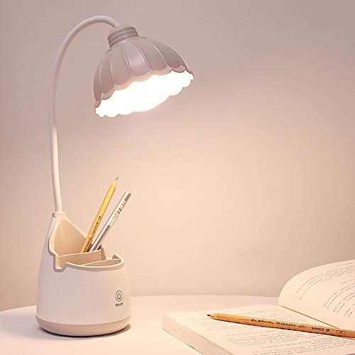 Milnut Lampara Escritorio Infantil, ProteccióN Ocular De Flores 3 Tipos De Brillo ConexióN USB, 360° Flexo Led Lampara Led Plegable Escritorio Lampara Para Leer En La Cama - Gris